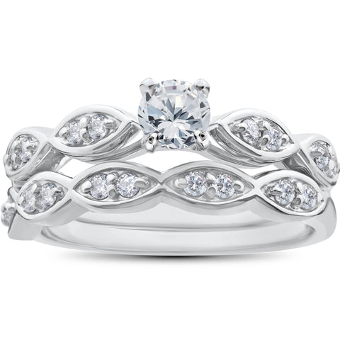 G SI 3/4ct Vintage Diamond Engagement Ring Matching Wedding Band Set White Gold