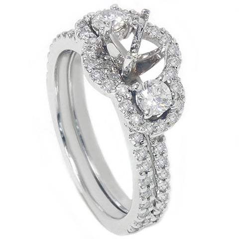 1 1/10ct 3 Stone Diamond Engagement Ring Setting & Matching Band