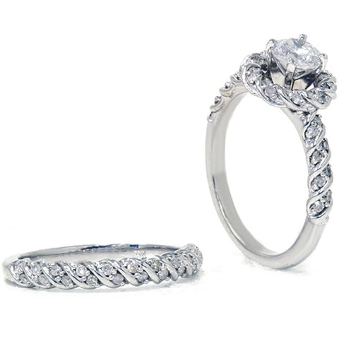 1 1/2ct Diamond Halo Engagement Ring Set 14K White Gold