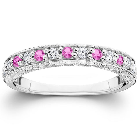 1/2ct Pink Topaz & Diamond Vintage Wedding Ring 14K White Gold