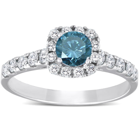 1 Ct Blue Diamond Cushion Halo Engagement Ring 14k White Gold