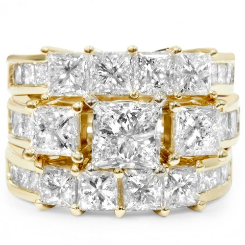 4 1/3ct Princess Cut Enhanced Diamond Engagement Guard Ring Set 14K Yellow Gold