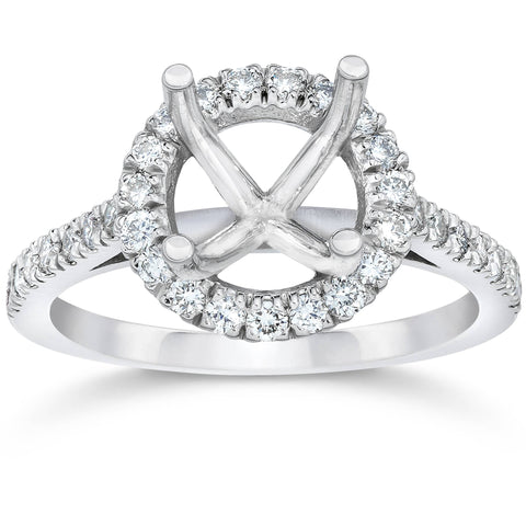 .33Ct Diamond Halo Engagement Ring Setting 14K White Gold Fits 1Ct Round