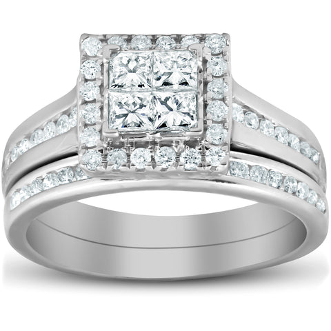 1 Ct TDW Princess Cut Halo Diamond Engagement Wedding Ring Set 10k White Gold