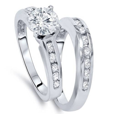 1 1/2ct Channel Set Round Solitiare Diamond Engagement & Wedding Ring White Gold