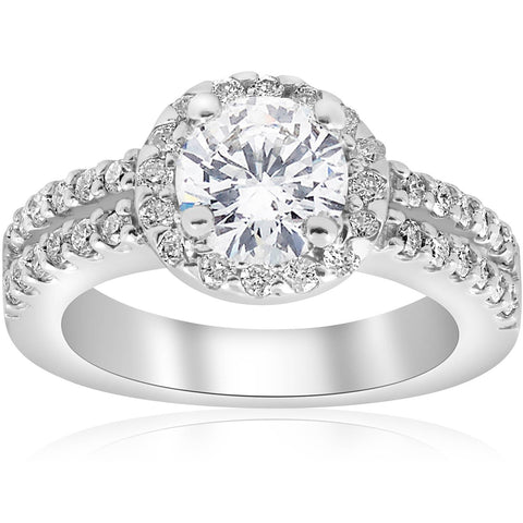 1 1/2ct Round Diamond Halo Double Row Engagement Ring 14K White Gold Enhanced