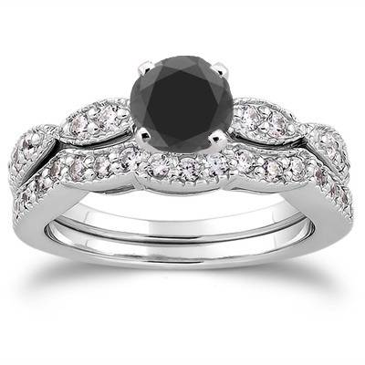 1 1/2ct Treated Black & White Diamond Engagement Ring Set 14K White Gold