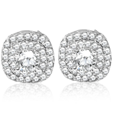 3/4ct Pave Double Halo Diamond Studs 10K White Gold