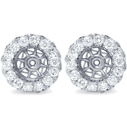 5/8ct Halo Diamond Earring Jackets 14K White Gold Vintage Accents