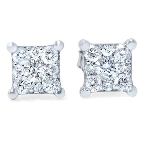 1/2ct Princess Cut Diamond Cluster Studs 14K White Gold
