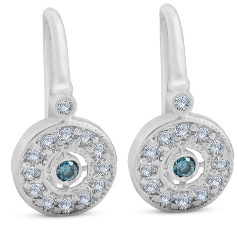"1/3ct Pave Diamond Blue & White Vintage Halo Earrings 10K White Gold 1/2"" Tall"