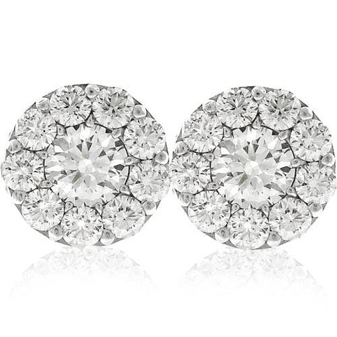 3ct Halo Diamond Studs 14K White Gold