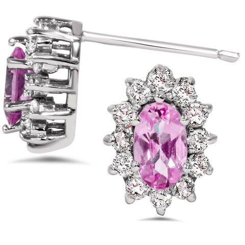 3/4ct Halo Diamond Pink Topaz Studs 14K White Gold