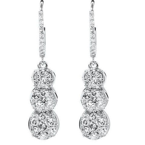 "1ct Dangle Pave Diamond Earrings & Hoop 14K White Gold 1 1/4"" Tall"