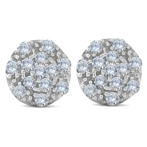 1/3 Ct Diamond Cluster Halo Studs 10k White Gold 8.5mm Womens Earrings
