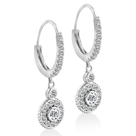 "F/G SI 3/4  Dangle Diamond Halo Vintage Hoops 18k White Gold 1"" tall"