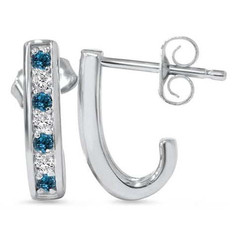 1/3ct Blue & White Diamond Hoops 14K White Gold
