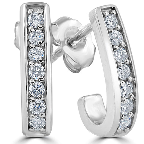 "F VS 1/3ct Diamond Hoops 14K White Gold 1/2"" Tall"