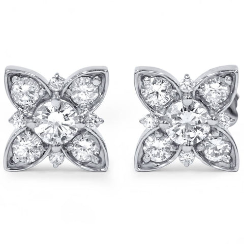 1 ct Floral Starburst Diamond Studs 14K White Gold