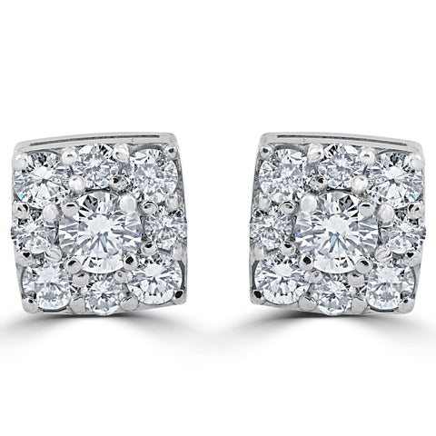 1 1/5ct Cushion Halo Round Diamond Studs 14K White Gold 8mm