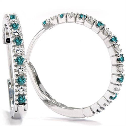 1/2ct Treated Blue & White Diamond Hoops 10K White Gold