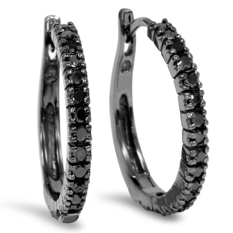 1/2ct Black Diamond Hoops 10K Black Gold