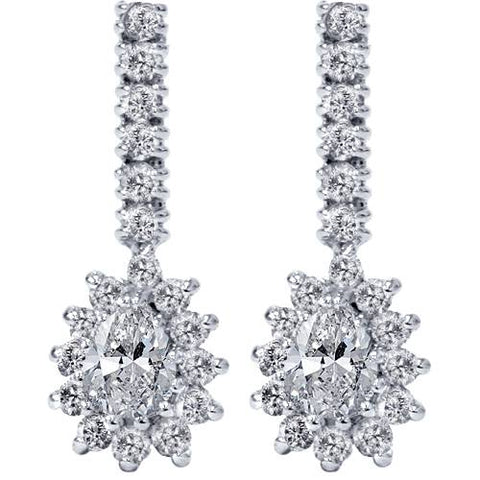 1ct Pear Shape Diamond Halo Earrings 14K White Gold