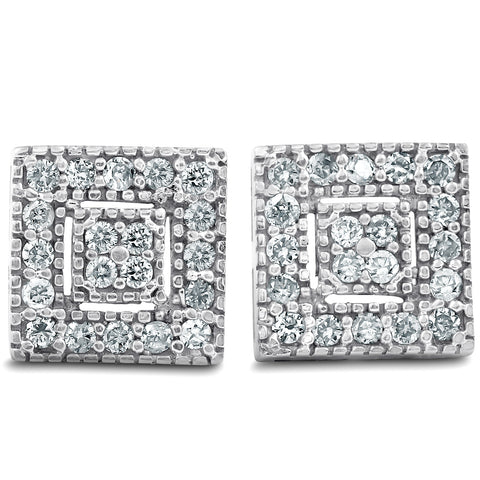1/3 Ct Diamond Pave Studs 14k White Gold Womens Earrings 1/3""