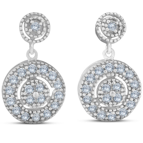 1/2 ct Diamond Dangle Earrings 10 Karat White Gold