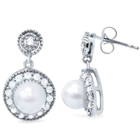 3/8ct Diamond & Pearl Vintage Gatsby Style Earrings 10K White Gold