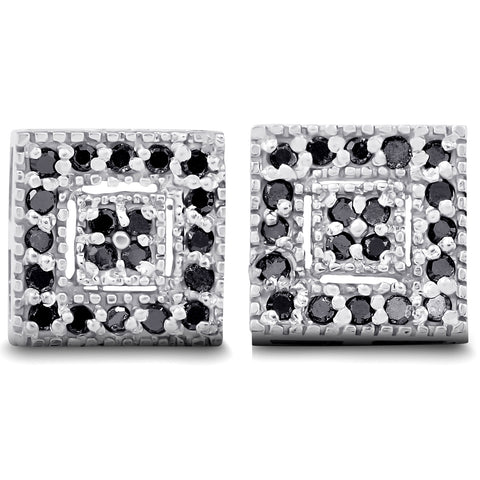 1/3ct Pave Black Diamond Studs 10K White Gold