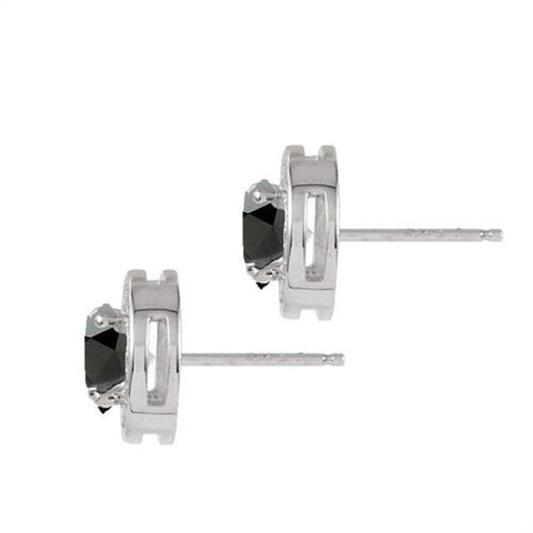5/8ct Treated Black & Diamond Round Halo Studs 14K White Gold 1/3""