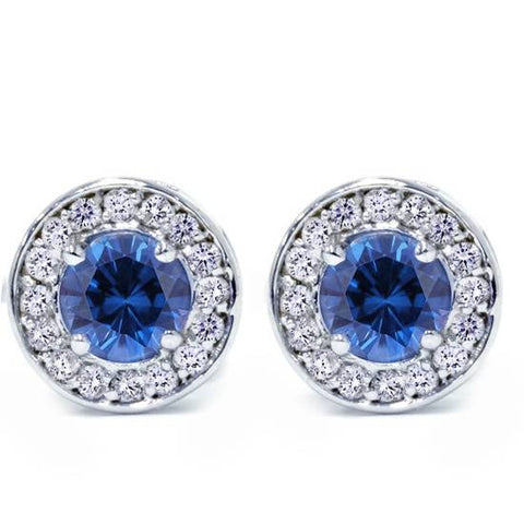 5/8ct Halo Diamond Blue Sapphire Studs 14K White Gold Screw Back