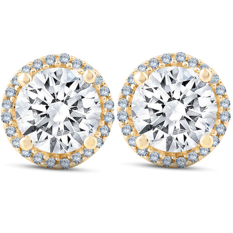 VS 2 1/5 Ct Diamond Halo Screw Back Studs Yellow Gold Moissanite