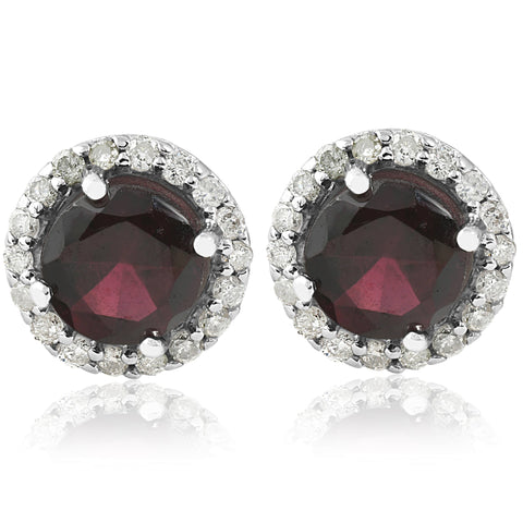 2 ct Diamond & Red Sapphire Gemstone Vintage Halo Studs Earrings 14K White Gold