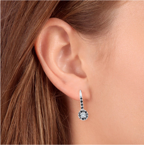 1/4ct Treated Black Diamond Dangle Drop Studs Earrings 10K White Gold