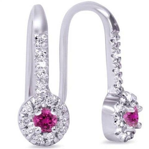 1/3ct Womens Pink Sapphire & Diamond Dangle Earrings 14K White Gold