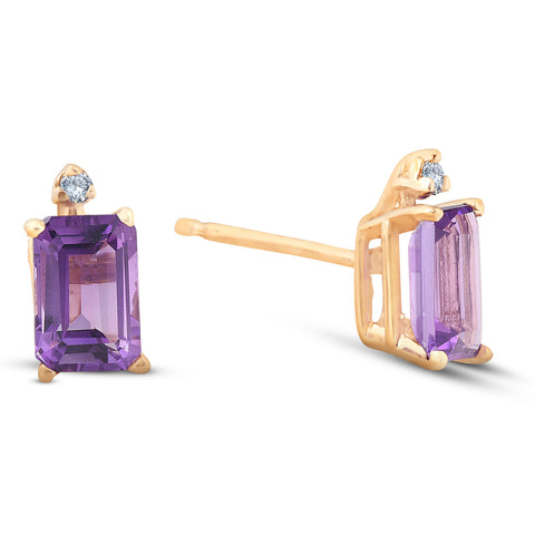 1 3/4ct Emerald Cut Amethyst Stud Earrings Solid 14k Yellow Gold