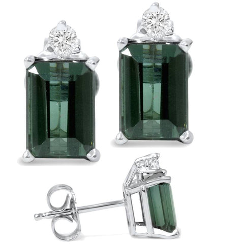 1 1/3ct Green Tourmaline Diamond Studs 14K White Gold