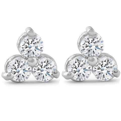 2ct Three Stone Diamond Womens Earrings 14K White Gold 3 Stone Triangle Shape