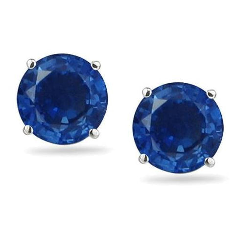 1 1/4ct Blue Sapphire Studs Earrings 14K White Gold