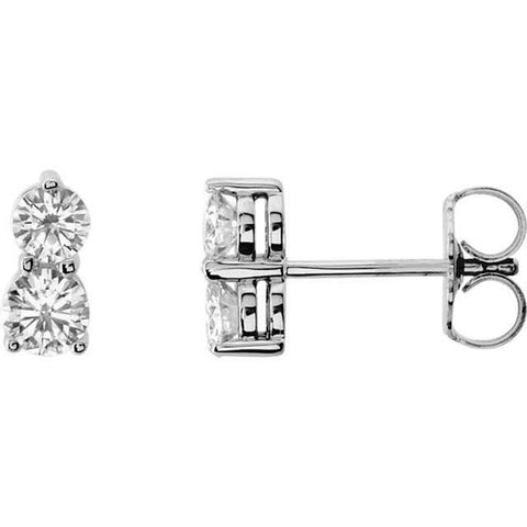 1/2Ct Forever Us Two Stone Diamond Studs Women's Earrings 14K White Gold