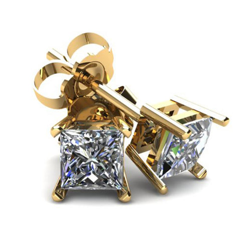 .33Ct Square Princess Cut Natural Diamond Stud Earrings In 14K Gold