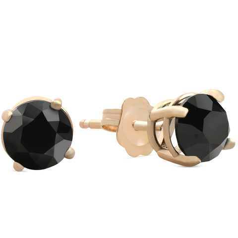 1 1/2 ct 14k Yellow Gold Round Black Diamond Stud Earrings Heated