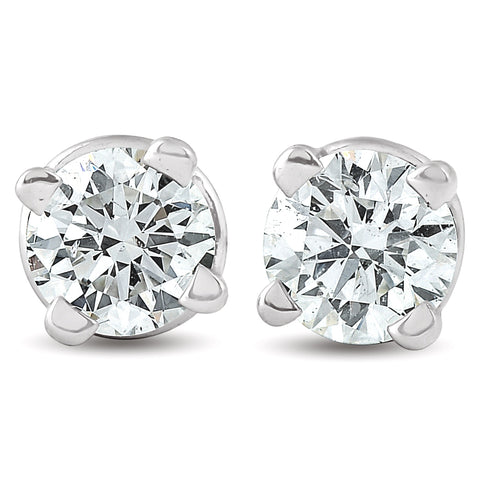 1/4 ct Round Diamond Studs Solitaire Earrings 14K White Gold