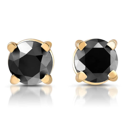 14k Yellow Gold 1/4ct Round Cut Black Diamond Studs