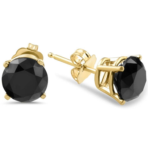 3 TCW 14k Yellow Gold Round Black Diamond Stud Earrings Treated