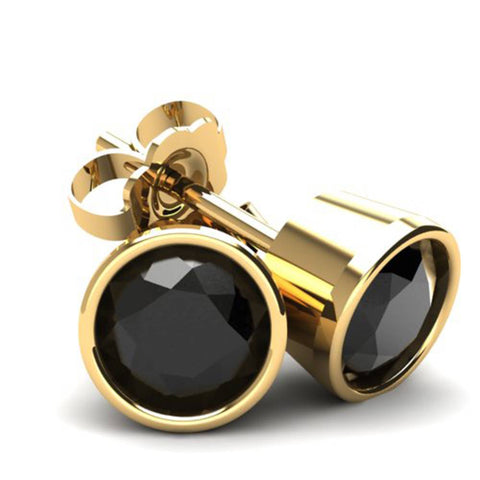 .20Ct Round Brilliant Cut Heat Treated Black Diamond Stud Earrings14K Gold