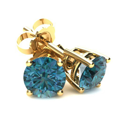 .20CT Round Brilliant Cut Blue Diamond Stud Earrings 14K Gold