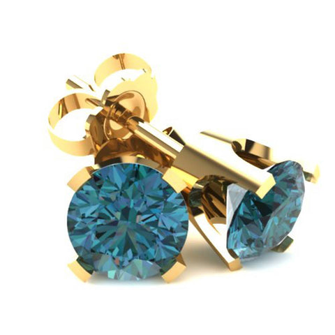 .33Ct Round Brilliant Cut Heat Treated Blue Diamond Stud Earrings In 14K Gold
